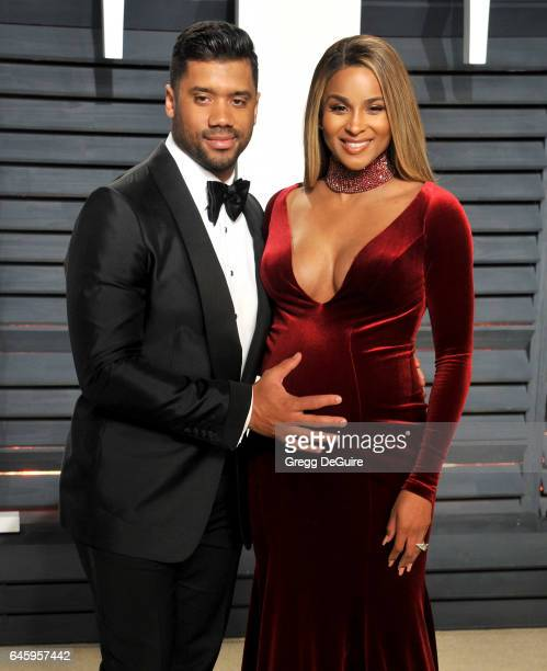 Ciara and Russell Wilson arrive at the 2017 Vanity Fair Oscar Party Hosted By Graydon Carter at Wallis Annenberg Center for the Performing Arts on...