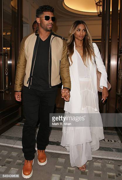Ciara and Russell Wilson at the Regents Street Burberry store on July 7 2016 in London England