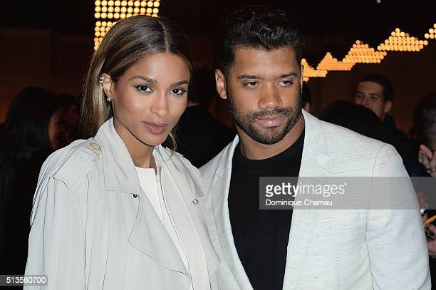 Ciara and Russell Wilson attend the Lanvin show as part of the Paris Fashion Week Womenswear Fall/Winter 2016/2017 on March 3 2016 in Paris France