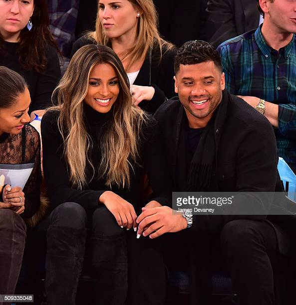 Ciara and Russell Wilson attend the Washington Wizards vs New York Knicks game at Madison Square Garden on February 9 2016 in New York City