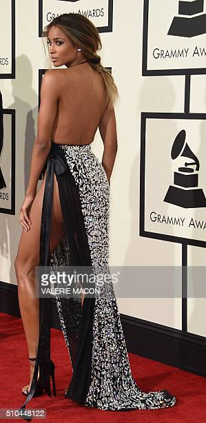Ciara arrive on the red carpet for the 58th Annual Grammy music Awards in Los Angeles February 15 2016 AFP PHOTO/ VALERIE MACON / AFP / VALERIE MACON