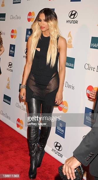 Ciara arrives at the Clive Davis and The Recording Academy's 2012 PreGRAMMY Gala and Salute to Industry Icons Honoring Richard Branson at The Beverly...