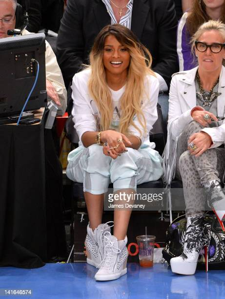Ciara attends the Toronto Raptors vs New York Knicks game at Madison Square Garden on March 20 2012 in New York City