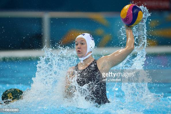 Ciara Gibson Byrne of Great Britain passes the ball in the Women's Preliminary Round Water Polo match between Great Britain and Australia on Day 5 of...