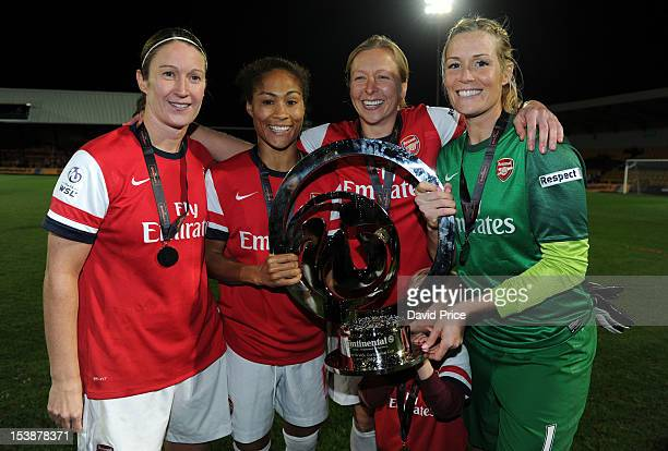 Ciara Grant Rachel Yankey Jayne Ludlow and Emma Byrne of Arsenal Ladies FC with the WSL Continental Cup Trophy after the The FA WSL Continental Cup...