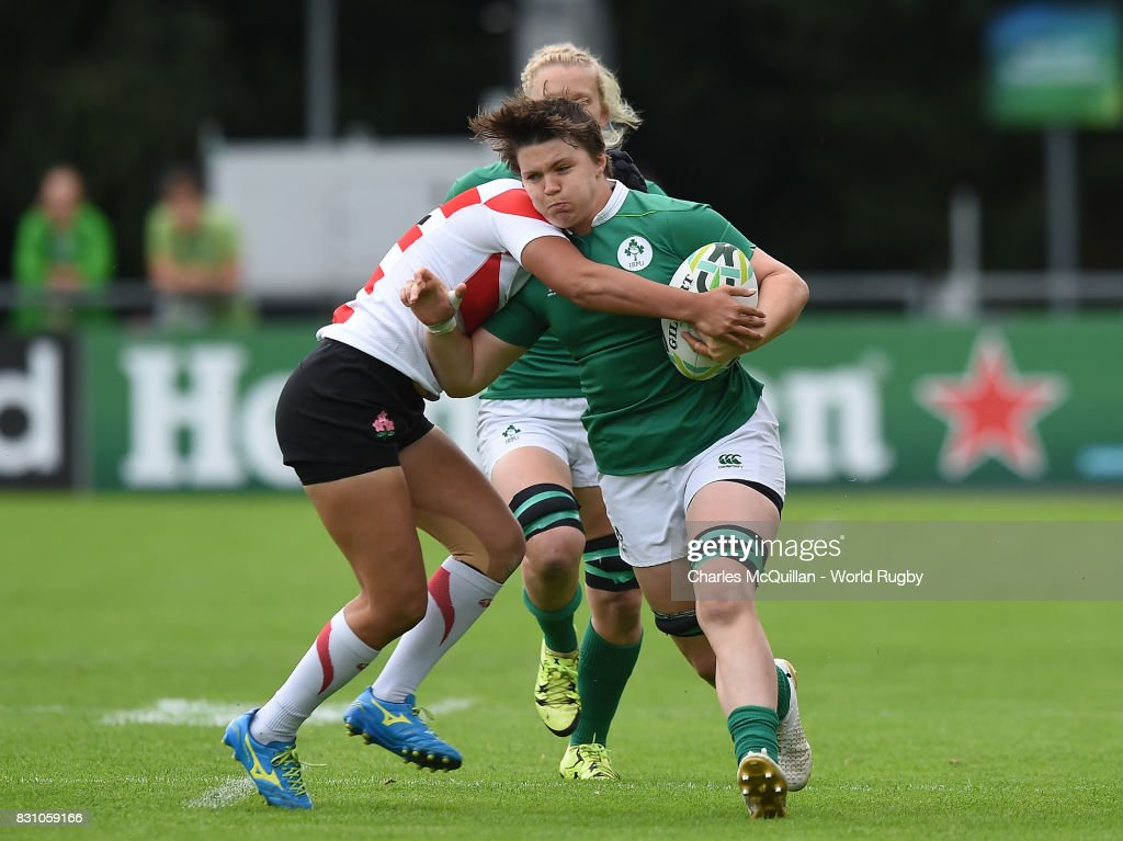 Ciara Griffin of Ireland is tackled by Riho Kurogi of Japan during the Women's Rugby World Cup 2017 match between Ireland and Japan on August 13, 2017 in Dublin, Ireland.