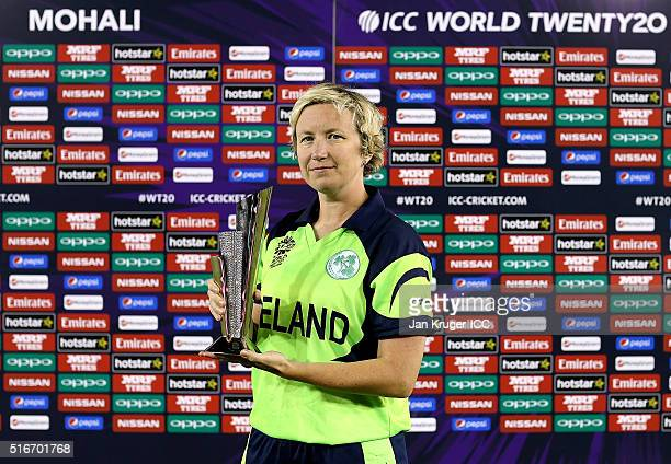 Ciara Metcalfe of Ireland poses with the player of the match trophy during the Women's ICC World Twenty20 India 2016 match between Sri Lanka and...
