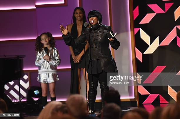Ciara Missy Elliott and a young dancer speak onstage during the Billboard Women in Music Luncheon on December 11 2015 in New York City