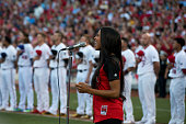 Ciara sings the National Anthem before the 86th MLB AllStar Game at Great American Ball Park in Cincinnati on Tuesday July 14 2015 in Cincinnati Ohio