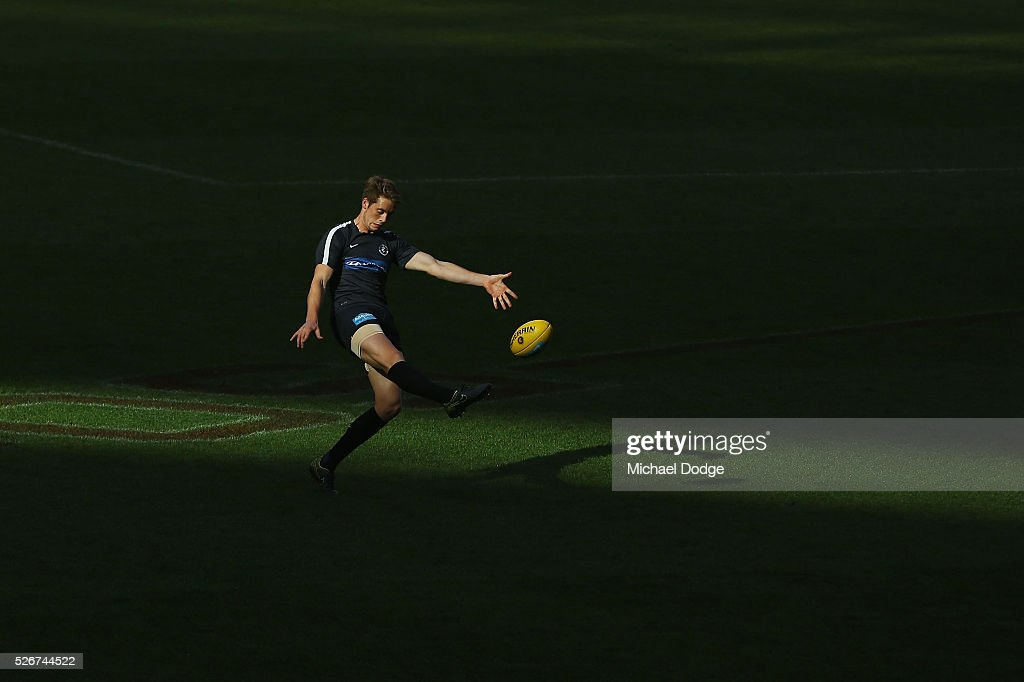 Ciaran Byrne of the Blues warms up during the round six AFL match between the Carlton Blues and the Essendon Bombers at Melbourne Cricket Ground on May 1, 2016 in Melbourne, Australia.