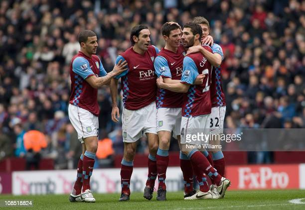 Ciaran Clark celebrates his goal for Aston Villa during the FA Cup sponsored by EOn Fourth Round match between Blackburn Rovers at Villa Park on...