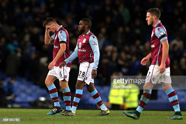 Ciaran Clark Charles N'Zogbia and Jordan Veretout of Aston Villa leave the pitch after his team's 04 defeat in the Barclays Premier League match...
