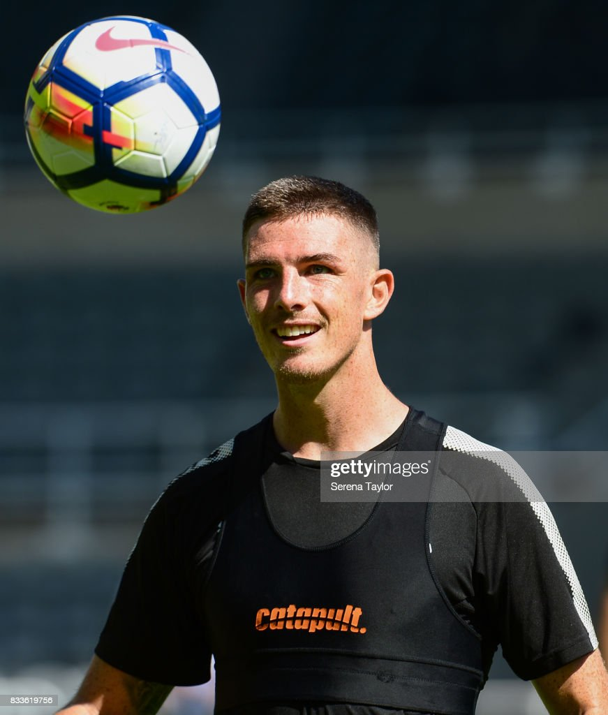 Ciaran Clark looks at the ball during a Newcastle United Open Training session at St.James' Park on August 17, 2017, in Newcastle upon Tyne, England.