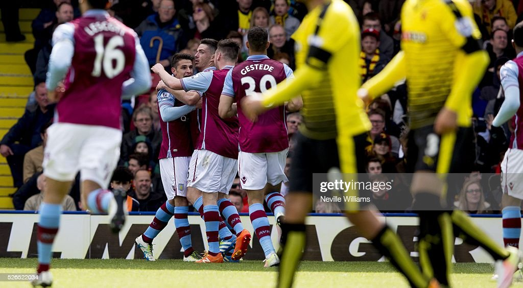 Ciaran Clark of Aston Villa celebrates his goal for Aston Villa during the Barclays Premier League match between Watford and Aston Villa at Vicarage Road on April 30, 2016 in Watford, England.