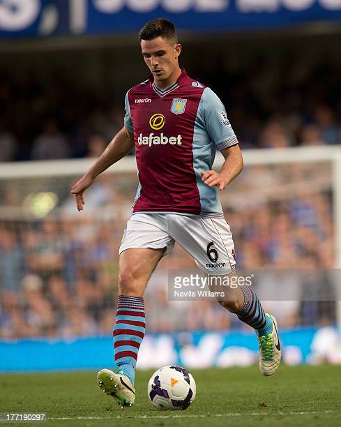 Ciaran Clark of Aston Villa during the Barclays Premier League match between Chelsea and Aston Villa at Stamford Bridge on August 21 2013 in London...