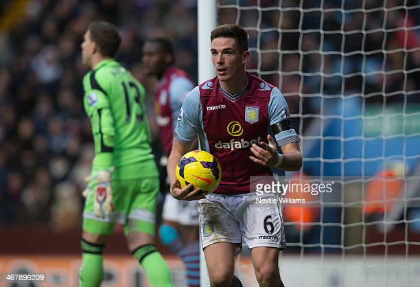 Ciaran Clark of Aston Villa during the Barclays Premier League match between Aston Villa and West Ham United at Villa Park on February 08 2014 in...