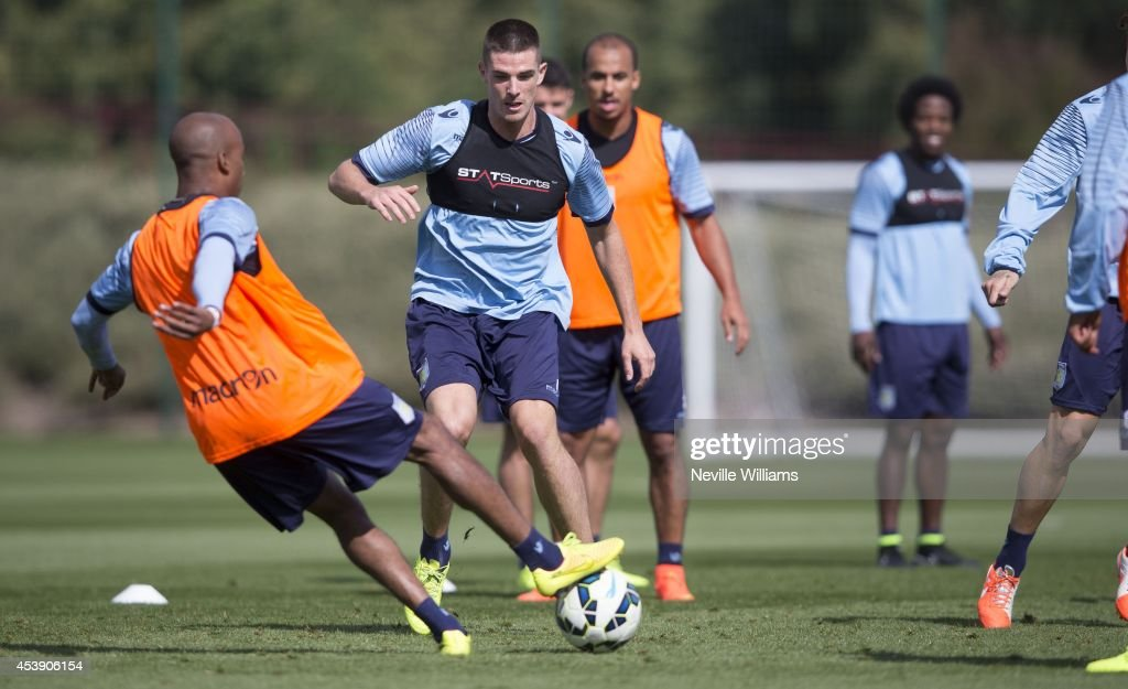 <a gi-track='captionPersonalityLinkClicked' href=/galleries/search?phrase=Ciaran+Clark&family=editorial&specificpeople=4644641 ng-click='$event.stopPropagation()'>Ciaran Clark</a> of Aston Villa in action during a Aston Villa training session at the club's training ground at Bodymoor Heath on August 21, 2014 in Birmingham, England.