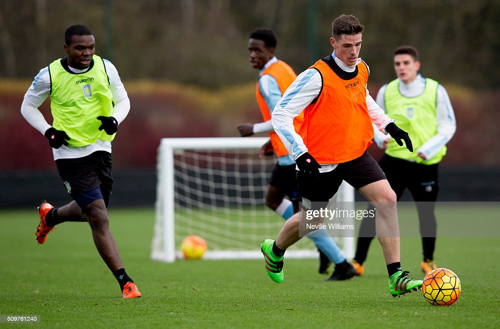 Ciaran Clark of Aston Villa in action during a Aston Villa training session at the club's training ground at Bodymoor Heath on February 12, 2016 in Birmingham, England.