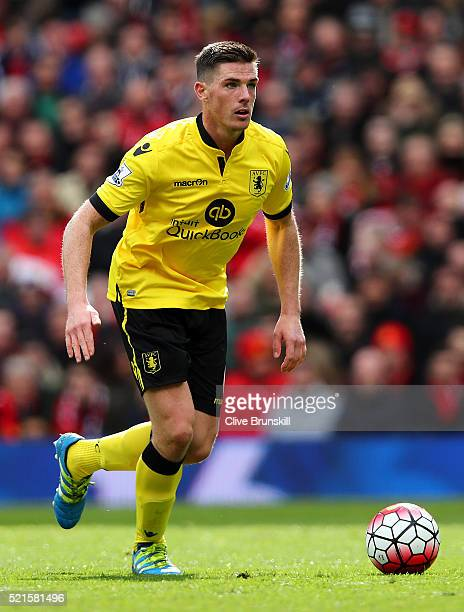 Ciaran Clark of Aston Villa in actionduring the Barclays Premier League match between Manchester United and Aston Villa at Old Trafford on April 16...