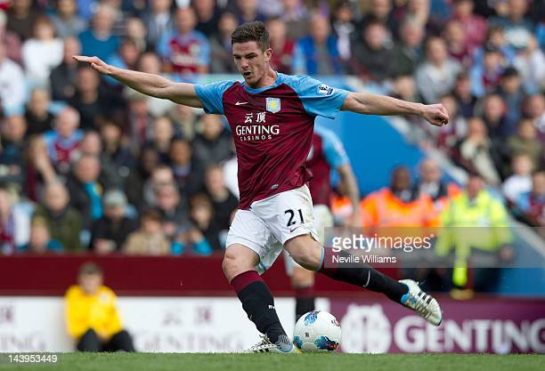 Ciaran Clark of Aston Villa scores a goal during the Barclays Premier League match between Aston Villa and Tottenham Hotspur at Villa Park on May 6...