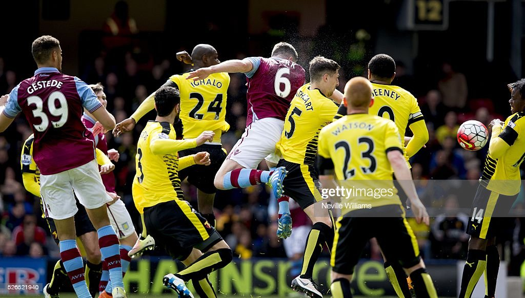 Ciaran Clark of Aston Villa scores for Aston Villa during the Barclays Premier League match between Watford and Aston Villa at Vicarage Road on April 30, 2016 in Watford, England.