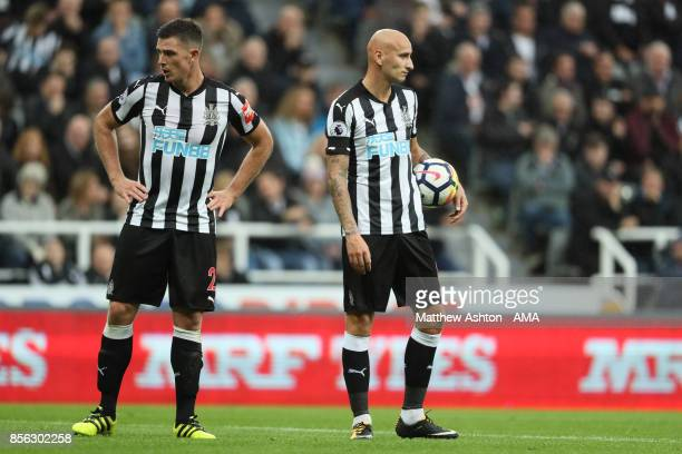 Ciaran Clark of Newcastle United and Jonjo Shelvey of Newcastle United look on during the Premier League match between Newcastle United and Liverpool...