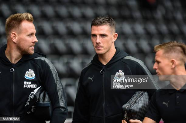 Ciaran Clark of Newcastle United arrives at the Liberty Stadium prior to kick off of the Barclays Premiership match between Swansea City and...