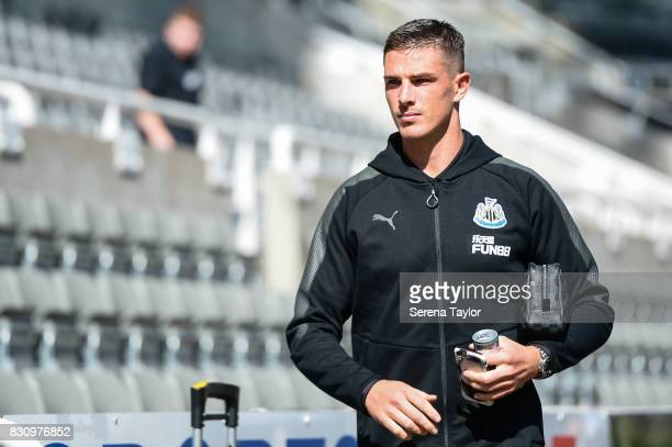 Ciaran Clark of Newcastle United arrives for the Premier League Match between Newcastle United and Tottenham Hotspur at StJames' Park on August 13 in...