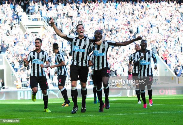 Ciaran Clark of Newcastle United celebrates after scoring Newcastle's second goal during the Premier League Match between Newcastle United and West...