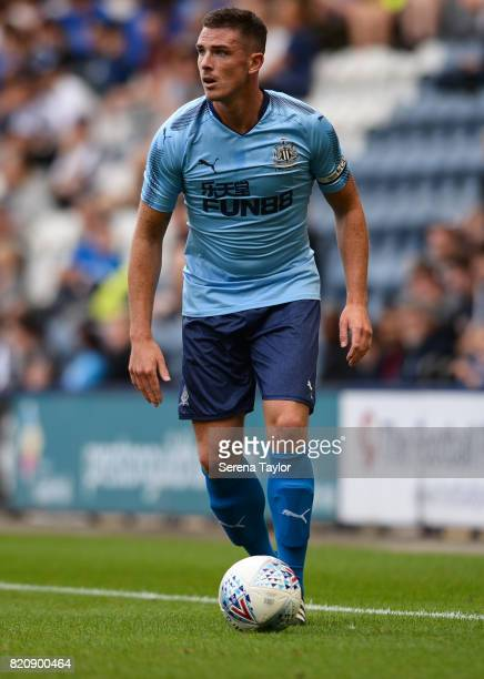 Ciaran Clark of Newcastle United looks to pass the ball during the Pre Season Friendly match between Preston North End and Newcastle United at...