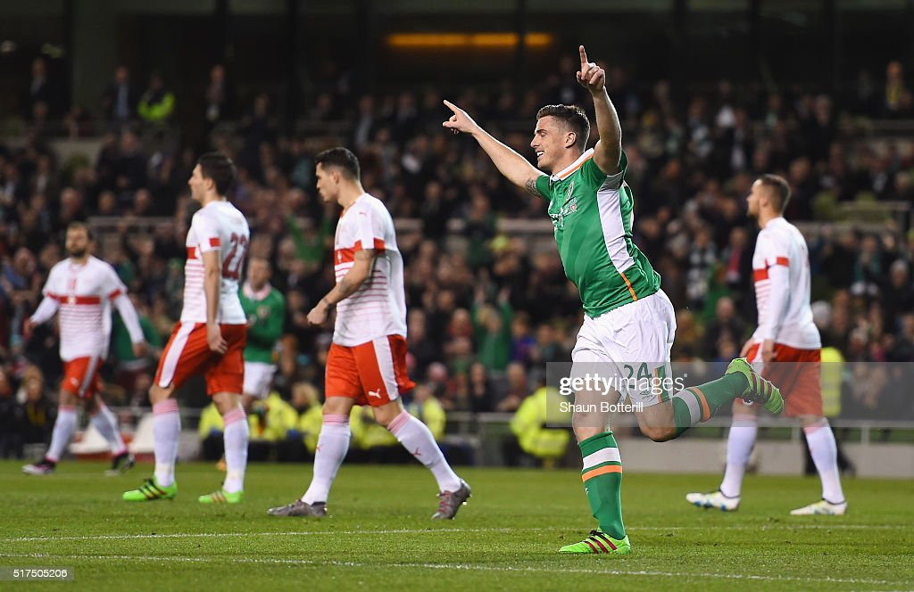 Ciaran Clark of Republic of Ireland celebrates scoring the opening goal during the International Friendly match between Republic of Ireland and Switzerland at Aviva Stadium on March 25, 2016 in Dublin, Ireland.