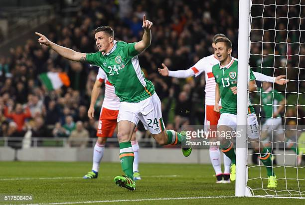 Ciaran Clark of Republic of Ireland celebrates scoring the opening goal during the International Friendly match between Republic of Ireland and...