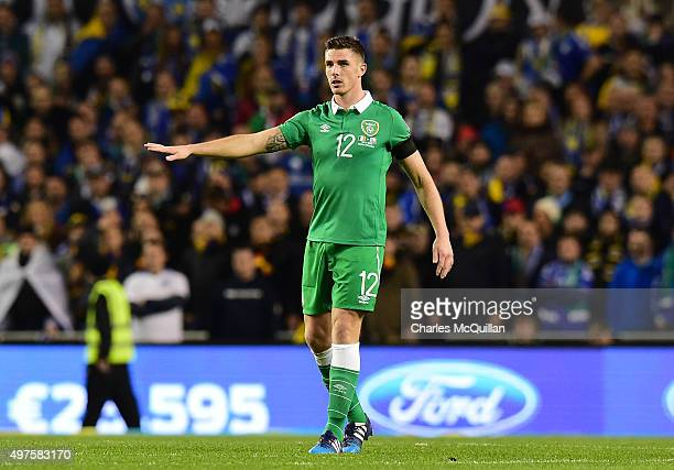 Ciaran Clark of the Republic of Ireland during the Euro 2016 playoff second leg match between the Republic of Ireland and BosniaHerzegovina at Aviva...