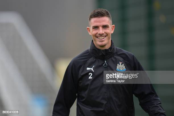 Ciaran Clark smiles as he walks outside during the Newcastle United Training session at the Newcastle United Training Centre on October 19 in...