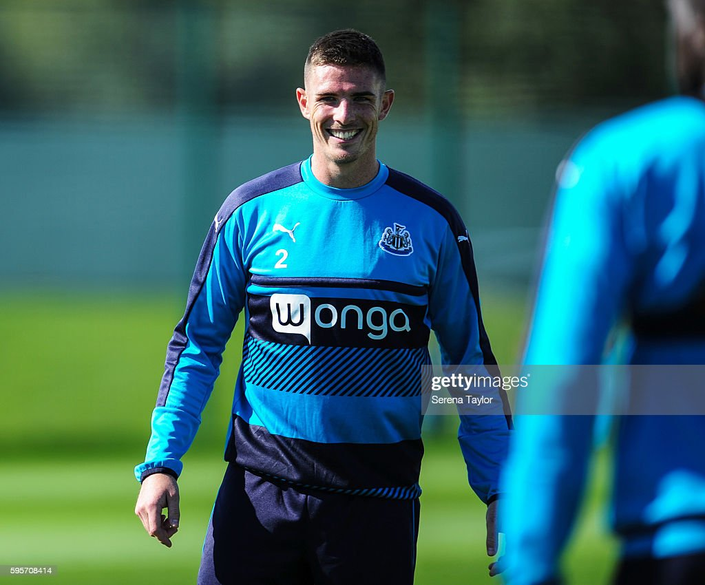 Ciaran Clark smiles during the Newcastle United Training Session at The Newcastle United Training Centre on August 26 in Bristol England