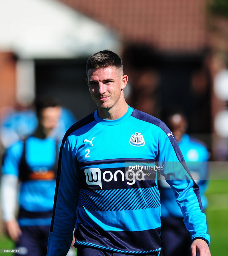 Ciaran Clark walks outside during the Newcastle United Training Session at The Newcastle United Training Centre on August 26 in Bristol England