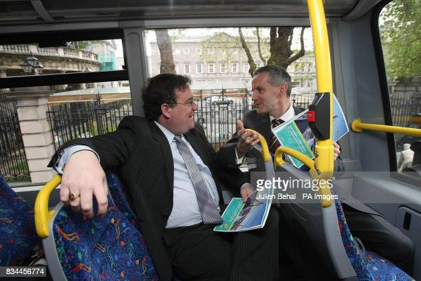 Ciaran Cuffe Green party TD and Dan Boyle launch their party's submission to the Government's sustainable transport strategy on board a Dublin double...