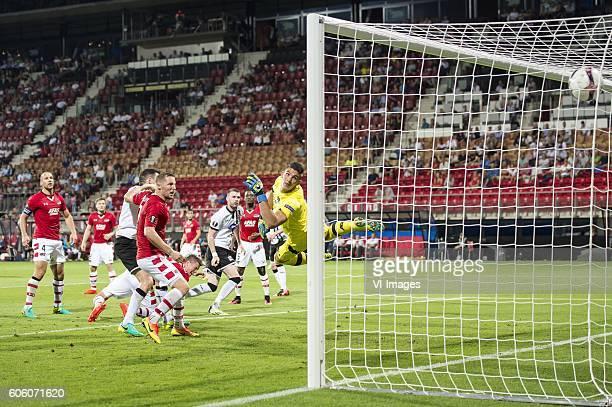 Ciaran Kilduff of Dundalk FC scores during the UEFA Europa League group D match between AZ Alkmaar and Dundalk FC on September 15 2016 at the AFAS...
