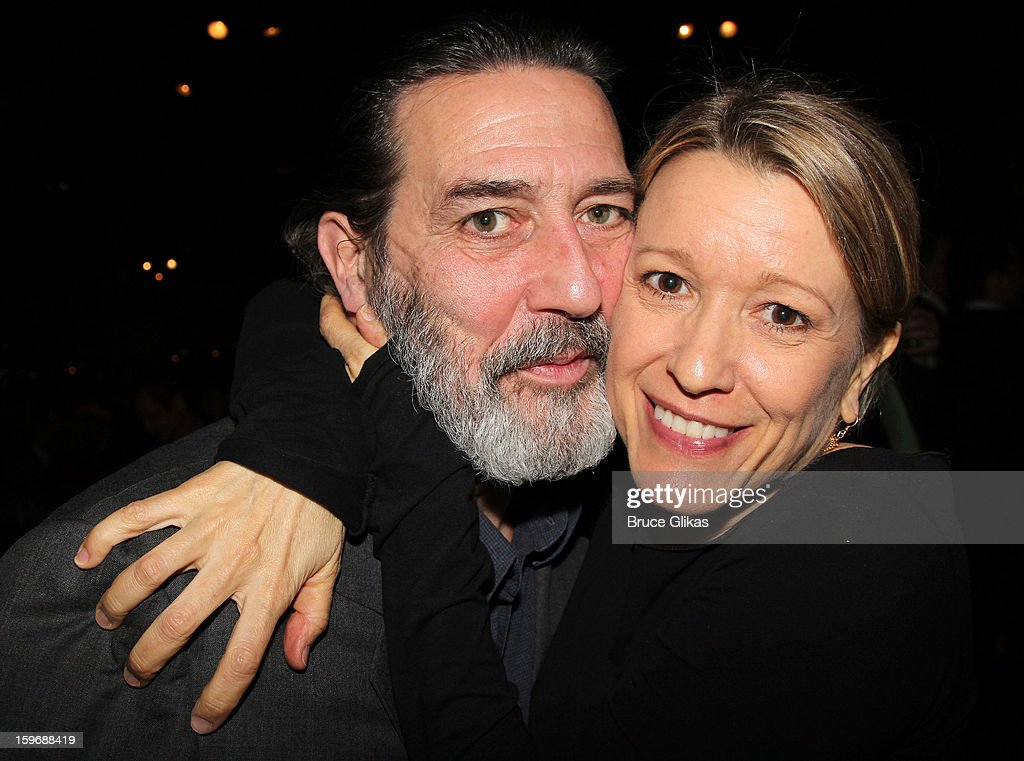 Ciarán Hinds and Linda Emond pose at the after party on opening night of 'Cat On A Hot Tin Roof' on Broadway at Chelsea Piers Lighthouse Pier 60 on January 17, 2013 in New York City.