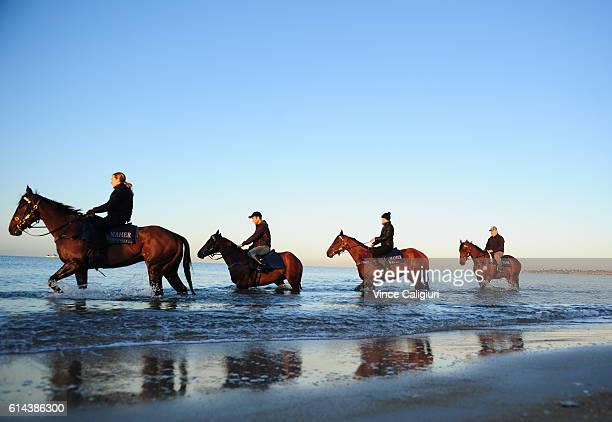 Ciaron Maher stabe horses Throssell Pemberley Lucy Yeomans riding Jameka and Akavoroun during beach work at Mordialloc beach ahead of tomorrows...