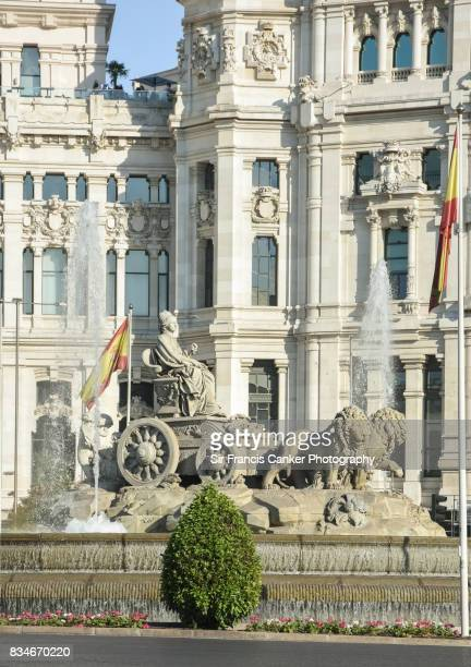 Cibeles fountain with Madrid City Hall on background in Madrid, Spain