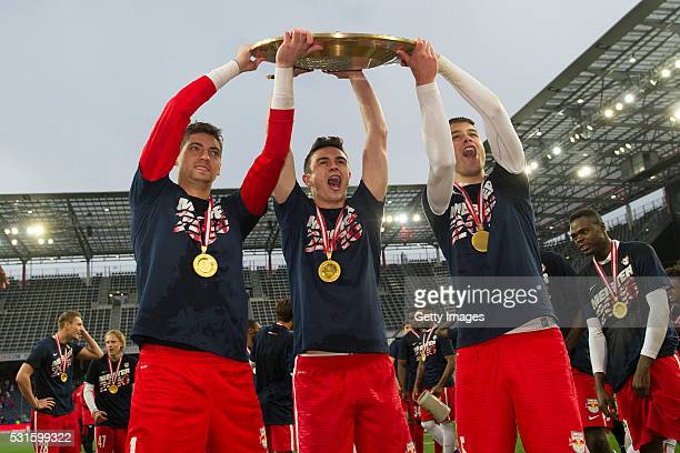 Cican Stankovic Smail Prevljak and DujeCaletaCar celebrate with the trophy for winning the Austrian Soccer Championship 2015/2016 after the tipico...