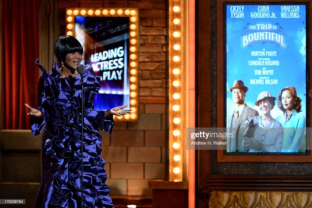 Cicely Tyson accepts the Tony Award for Best Performance by an Actress in a Leading Role in a Play for 'The Trip to Bountiful' at The 67th Annual Tony Awards at Radio City Music Hall on June 9, 2013 in New York City.