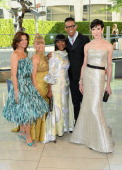 Cicely Tyson designer B Michael and Amy Fine Collins pose with guests at the 2014 CFDA fashion awards at Alice Tully Hall Lincoln Center on June 2...