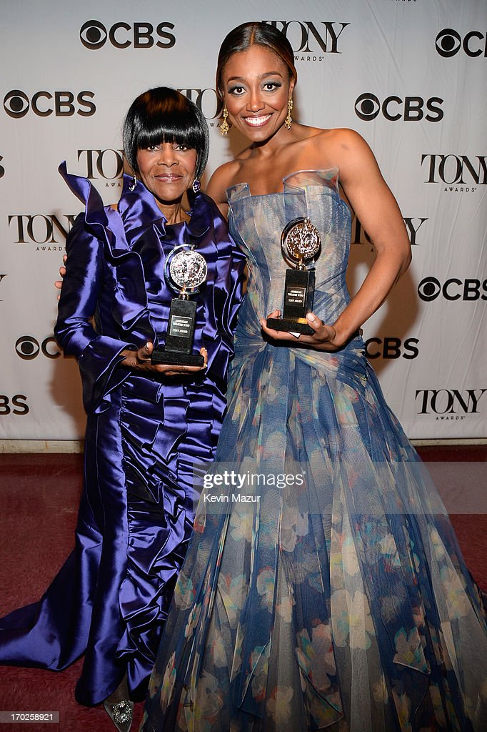 <a gi-track='captionPersonalityLinkClicked' href=/galleries/search?phrase=Cicely+Tyson&family=editorial&specificpeople=211450 ng-click='$event.stopPropagation()'>Cicely Tyson</a>, winner of the award for Best Performance by a Leading Actress in a Play for 'The Trip to Bountiful', (L) and <a gi-track='captionPersonalityLinkClicked' href=/galleries/search?phrase=Patina+Miller&family=editorial&specificpeople=5748190 ng-click='$event.stopPropagation()'>Patina Miller</a>, winner of the award for Best Performance by a Leading Actress in a Musical for 'Pippin', attend The 67th Annual Tony Awards backstage at Radio City Music Hall on June 9, 2013 in New York City.