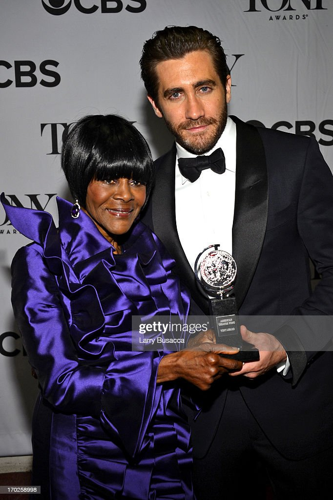 Cicely Tyson, winner of the award for Best Performance by a Leading Actress in a Play for 'The Trip to Bountiful', (L) and actor Jake Gyllenhaal attend The 67th Annual Tony Awards backstage at Radio City Music Hall on June 9, 2013 in New York City.