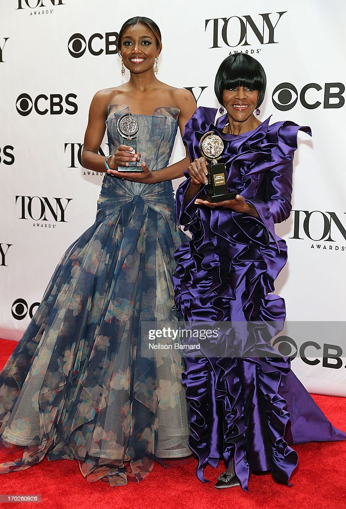 Cicely Tyson, winner of the award for Best Performance by a Leading Actress in a Play for 'The Trip to Bountiful', (L) and Patina Miller, winner of the award for Best Performance by a Leading Actress in a Musical for 'Pippin' pose together in The 67th Annual Tony Awards at Radio City Music Hall on June 9, 2013 in New York City.