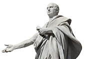 Cicero the greatest orator of the Ancient Rome, marble statue in front of the Old Palace of Justice in Rome (19th century)