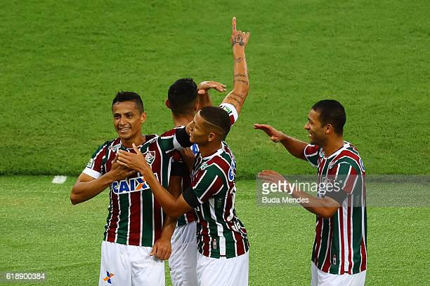 Cicero and others players of Fluminense celebrate a scored goal against Vitoria during a match between Fluminense and Vitoria as part of Brasileirao...