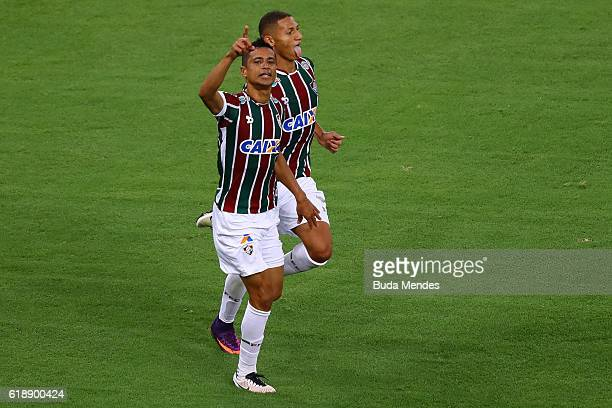 Cicero and Richarlison of Fluminense celebrate a scored goal against Vitoria during a match between Fluminense and Vitoria as part of Brasileirao...